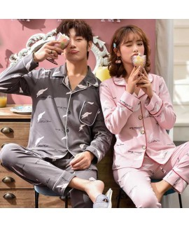 Couple pajamas cotton long-sleeved Korean cardigan...