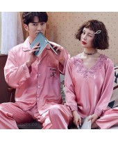 Couple Pajamas Ice Silk Sexy Thin Section Long-sle...