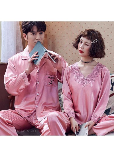 Couple Pajamas Ice Silk Sexy Thin Section Long-sleeve Home Service Suit
