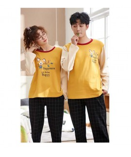 Cotton hedging long-sleeved couple pajamas home se...