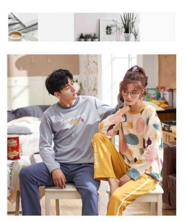 Cotton hedging long-sleeved couple pajamas home service suit factory direct sales