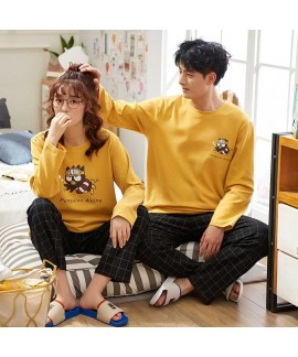 Long-sleeved cotton couple pajamas men and women h...