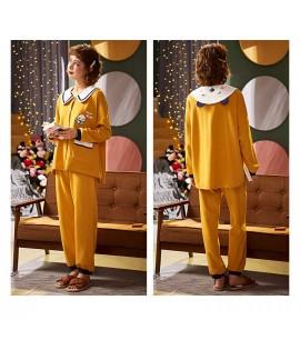 Korean cartoon cute home clothes lapel cardigan sweet mens women pajamas can be worn outside