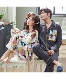 Cotton thin section lovers pajamas long sleeves we...