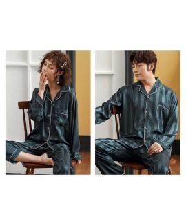 Couple Pajamas Ice Silk sexy thin section long-sleeved home service two-piece suit