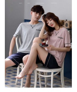 Short sleeve cotton can be worn outside cute coupl...