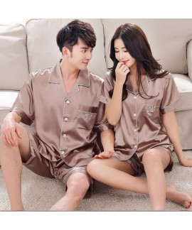 Summer Korean simulation silk couple short sleeve ...