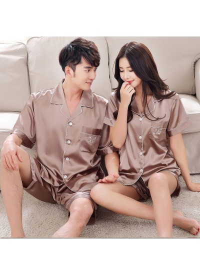Summer Korean simulation silk couple short sleeve wide loose shirt V-neck pajamas suit