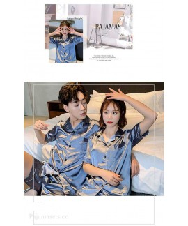 Ins Short-sleeved Ice Silk Two-piece Cartoon Print Thin Couple Pajamas Home Service