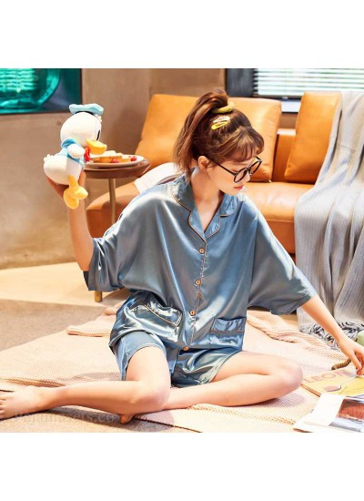 Summer Thin Section Ice Silk Cartoon Net Red Wind Couple Pajamas Home Service Suit