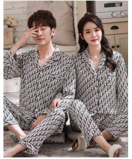 Ice silk couple printed letter long-sleeved two-piece satin chiffon men and women Pajamas