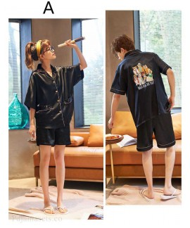 Couple ice silk short-sleeved thin section enlarged code home service pajamas suit