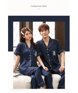 two-piece suit sexy ice silk Korean thin section couple pajamas
