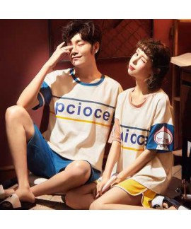 summer short-sleeved cotton thin large size loose men and women two-piece suit home service