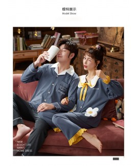 Korean couple long-sleeved trousers sweet and cute doll lapel cotton home service suit