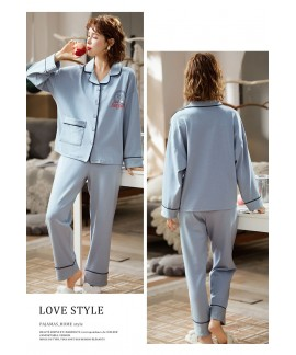 new style Korean cardigan models cotton long-sleeved casual men's and women's Pajamas