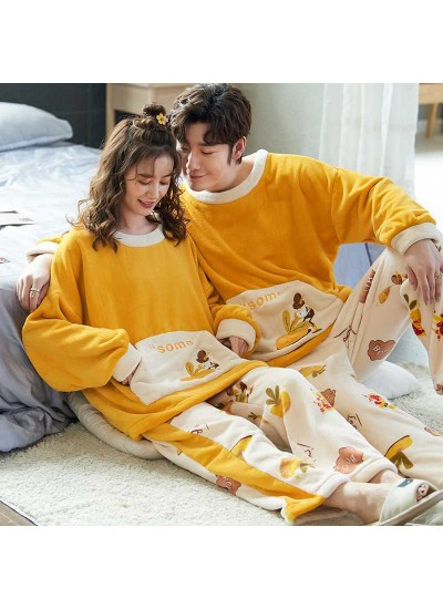 Winter creative flannel men and women pullover round neck long sleeve couple pajamas suit