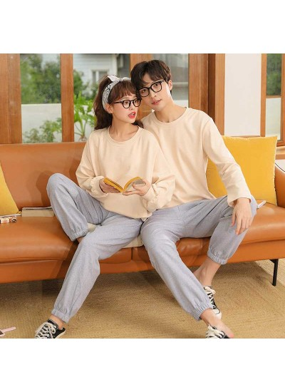 Winter trend new couple gray long-sleeved trousers home pajamas