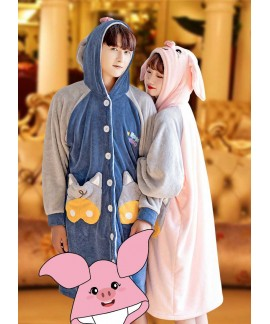Cartoon pig long coral fleece plus velvet thickeni...