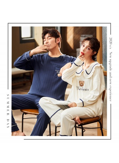 Couple Korean style long-sleeved casual new cotton cute pajamas home service
