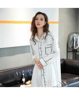 Spring new thin loose ice silk long-sleeved couple shirt nightdress