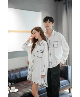 Spring new thin loose ice silk long-sleeved couple...