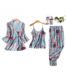 Cotton Sleepwear Female Three-piece Thin Nine-Slee...