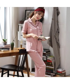 Summer short sleeves cotton pajamas women's cardig...