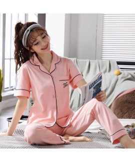 Summer short sleeves cotton pajamas women's cardigan Lapel simple sleepwear sets