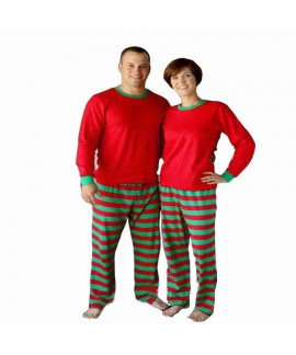 Men's and women's striped Christmas boys and girls home service multicolor pajamas