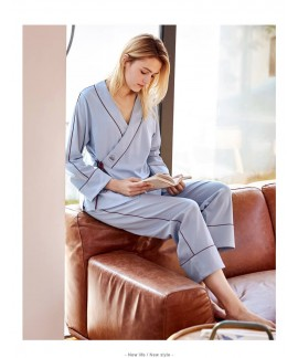 long sleeves ladies' 100% cotton pajama sets for s...