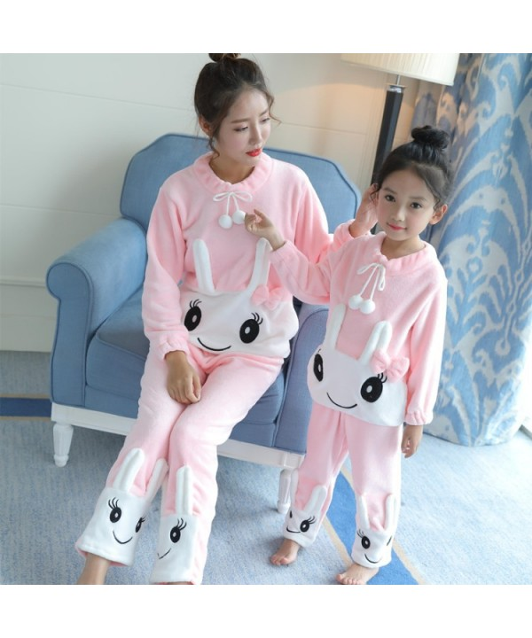 Long sleeved Flannel pajamas girls for autumn and winter, pajamas two sets