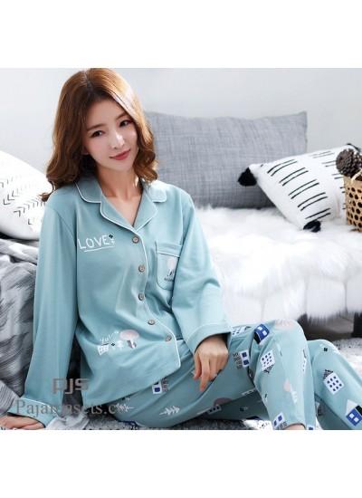 Long Sleeve Women's Cotton Pyjama sets for spring Korean Open Shirt Full sleepwear sets female