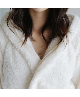 Thick Long Sleeve Cute Hooded Rabbit Flannel Ladies Bathrobe For Winter