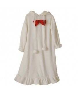 New Sweet Thick Warm Hooded Ladies Flannel Nightdress For Autumn And Winter