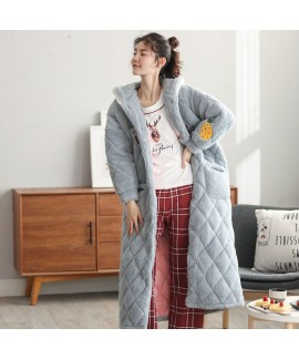Thick Quilted Hooded Warm Long Flannel Ladies Nightgown