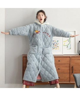 Thick Quilted Hooded Warm Long Flannel Ladies Nigh...