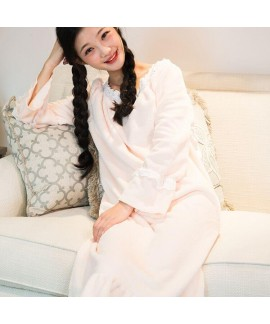 Solid Color Round Neck Long Sleeve Ladies Flannel Nightdress For Winter