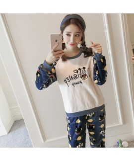New Thick Round Neck Embroidered Disney Ladies Flannel Pajamas Set For Winter
