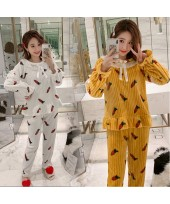 New Cute Thick Warm Ladies Flannel Pajamas Set For...