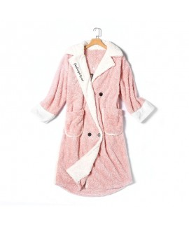 Cute Embroidery Cationic Ladies Flannel Nightdress For Autumn And Winter