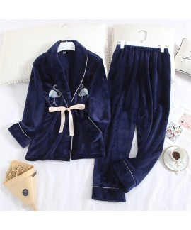 Long Sleeve Sweet Lapel Warm Flannel Ladies Pajama...