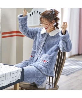 Thickened Plus Velvet Spring And Autumn Flannel Warm Ladies Pajamas Set