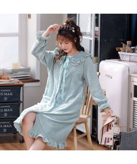 New Fashion Lace Flannel Nightdress For Winter