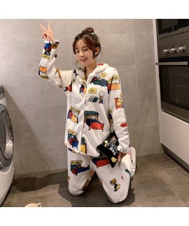 Snoopy Cute Warm Long Sleeve Flannel Pajamas For W...