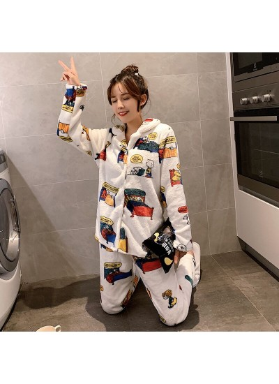 Snoopy Cute Warm Long Sleeve Flannel Pajamas For Winter