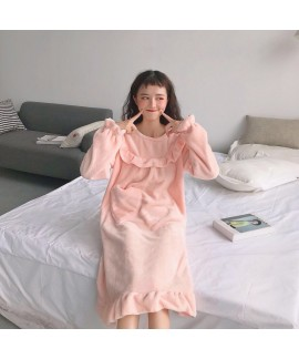 Sweet Loose Mid-length Plus Velvet Thick Long-sleeved Flannel Nightdress