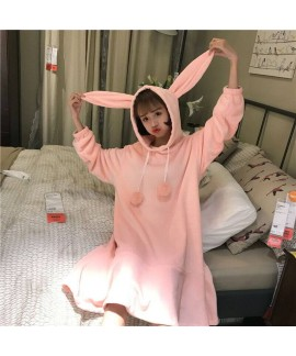 Cute Fur Ball Rabbit Ears Long Sleeve Hooded Ladies Flannel Nightdress For Winter