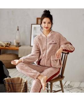 Fashion Zipper Flannel Home Ladies Suit For Winter