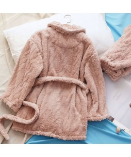 Thick Casual Cardigan Warm Flannel Suit Ladies Pajamas